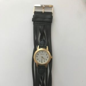 Vintage Gold Tone Watch with Black Leather Band